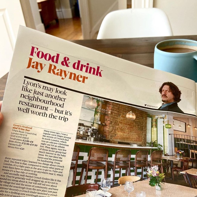 Lyon's Seafood Restaurant Newspaper Review